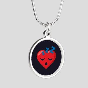 Heart Sleeping Emoji Silver Round Necklace