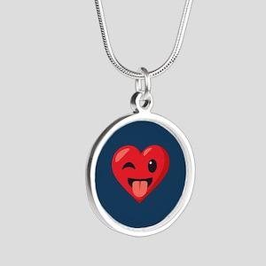 Heart Joking Emoji Silver Round Necklace