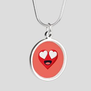 Heart Love Emoji Silver Round Necklace