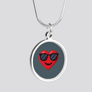Heart Sunglasses Emoji Silver Round Necklace