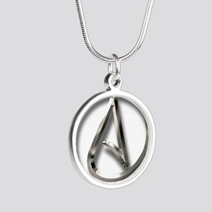 International Atheism Symbol Silver Round Necklace