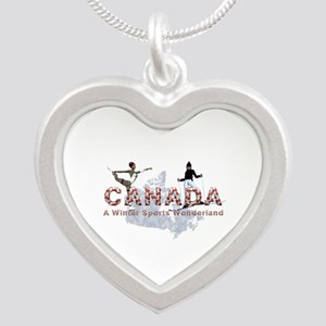 Canada Winter Sports Silver Heart Necklace