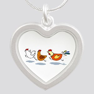 3 chickens Silver Heart Necklace