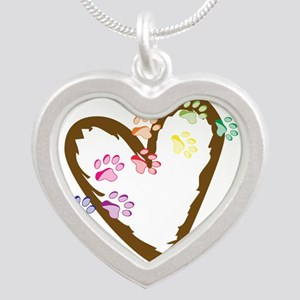 Paw Heart Silver Heart Necklace