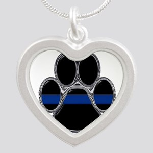 K-9 Thin Blue Line Silver Heart Necklace
