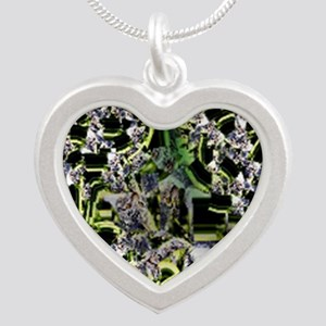 Night Star Flower Silver Heart Necklace