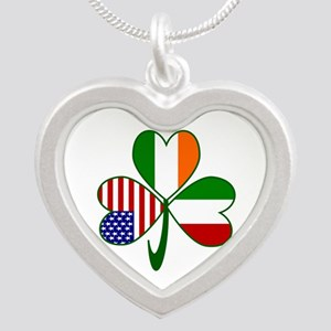 Shamrock of Italy Silver Heart Necklace