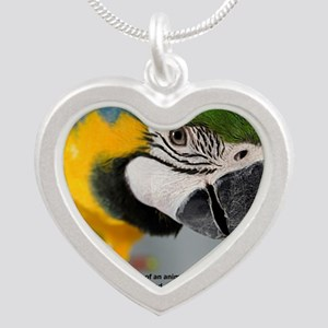B&G Macaw with Quote Silver Heart Necklace