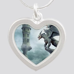 Tower Dragons Silver Heart Necklace