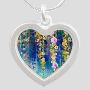 Floral Painting Silver Heart Necklace