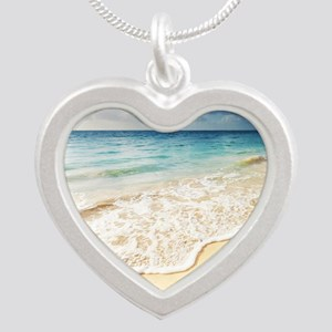 Beautiful Beach Silver Heart Necklace