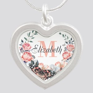 Peach Floral Wreath Monogram Necklaces