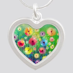 Watercolor Flowers Silver Heart Necklace