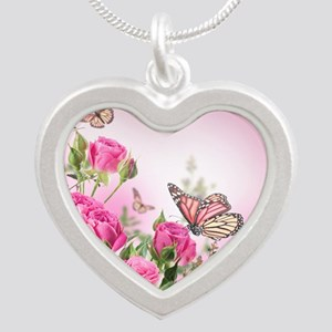 Butterfly Flowers Silver Heart Necklace