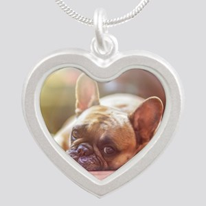 french bulldog laying Necklaces