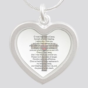 Sacred Heart of Jesus Cross Silver Heart Necklace