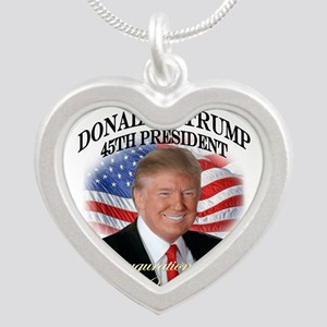Trump Inauguration Smile Silver Heart Necklace