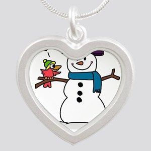 Snowman bird love christmas Necklaces