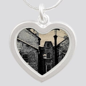 vintage church street light Silver Heart Necklace