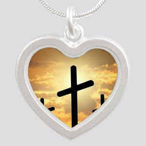The Cross Silver Heart Necklace