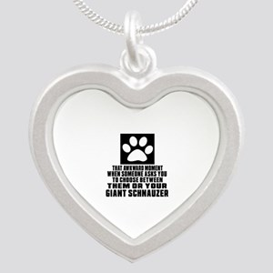 Giant Schnauzer Awkward Dog Silver Heart Necklace