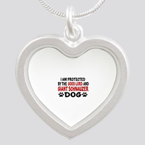 Protected By Giant Schnauzer Silver Heart Necklace