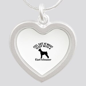 Sleep With Giant Schnauzer D Silver Heart Necklace
