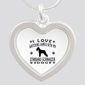 Standard Schnauzer design Silver Heart Necklace