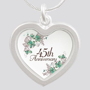 45th Anniversary Keepsake Silver Heart Necklace