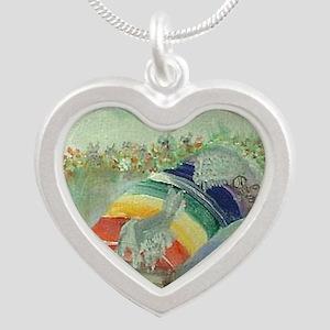 Rainbow5x5 Silver Heart Necklace