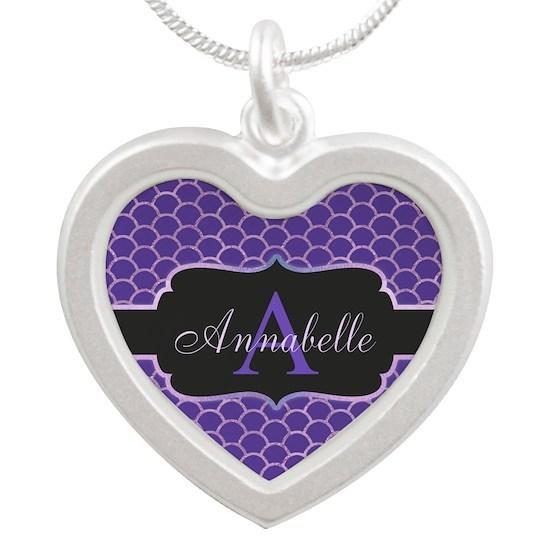 Purple Mermaid Scale Monogram