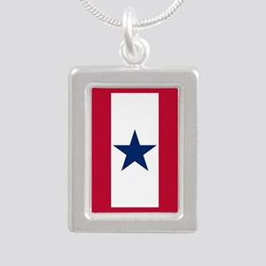 Blue Star Flag Silver Portrait Necklace