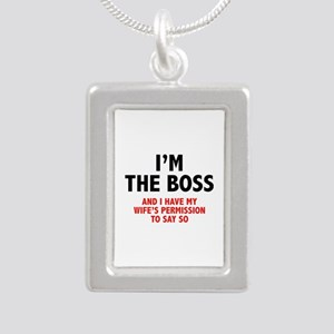I'm The Boss Silver Portrait Necklace
