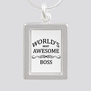 World's Most Awesome Boss Silver Portrait Necklace