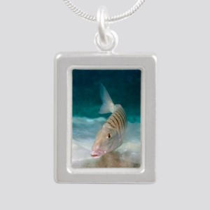 Striped seabream searchi Silver Portrait Necklace