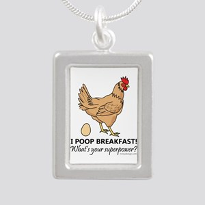 Chicken Poops Breakfast Silver Portrait Necklace