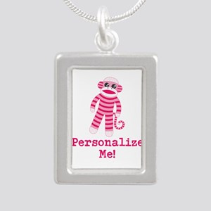 Pink Sock Monkey Silver Portrait Necklace