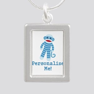 Baby Blue Sock Monkey Silver Portrait Necklace