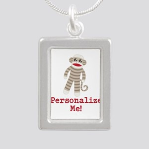 Classic Sock Monkey Silver Portrait Necklace