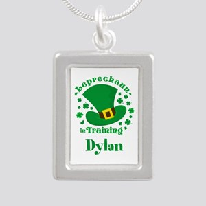 Personalized Leprechaun Silver Portrait Necklace