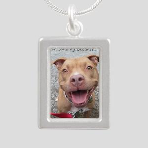 Pit Bull Silver Portrait Necklaces - CafePress