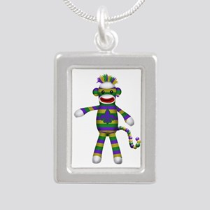 Mardi Gras Sock Monkey Silver Portrait Necklace