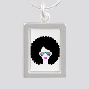 hologram afro girl Necklaces