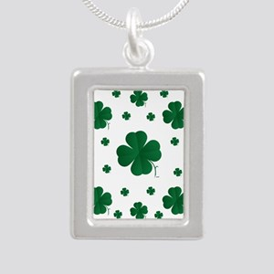 Shamrocks Multi Silver Portrait Necklace