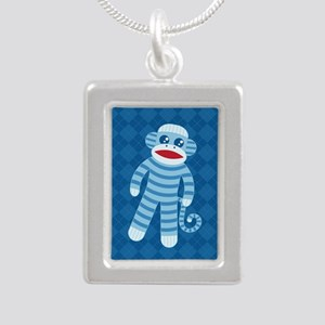 Blue Sock Monkey Silver Portrait Necklace