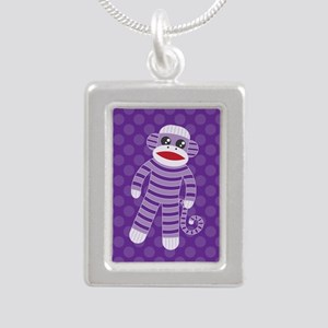 Purple Sock Monkey Silver Portrait Necklace