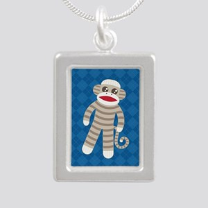 Sock Monkey Silver Portrait Necklace
