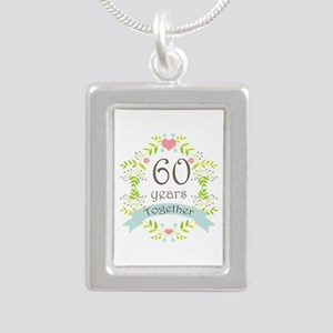 60th Anniversary flowers Silver Portrait Necklace