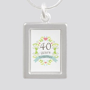40th Anniversary flowers Silver Portrait Necklace