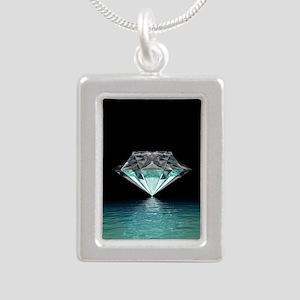 Aqua Diamond Silver Portrait Necklace
